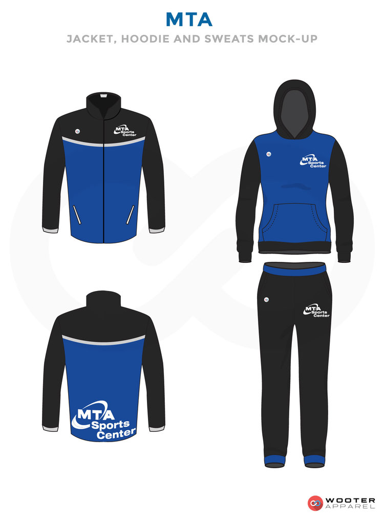 MTA Blue Black and White Baseball Uniforms, Jersey Hoodie Jacket and Pants