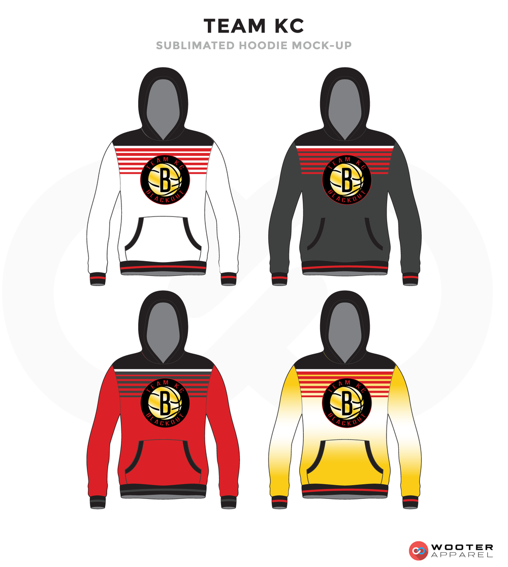 TEAM KC Black Grey White Red and Yellow Baseball Uniforms, Hoodies