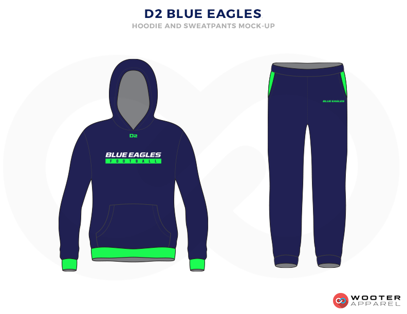D2 BLUE EAGLES Green Blue and White Baseball Uniforms, Hoodie and Pants