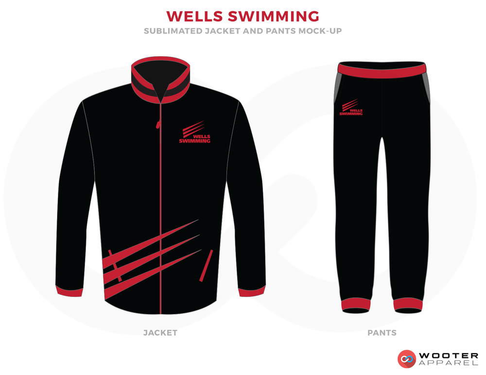 WELLS SWIMMING Black Grey and Red Baseball Uniforms, Jacket and Pants