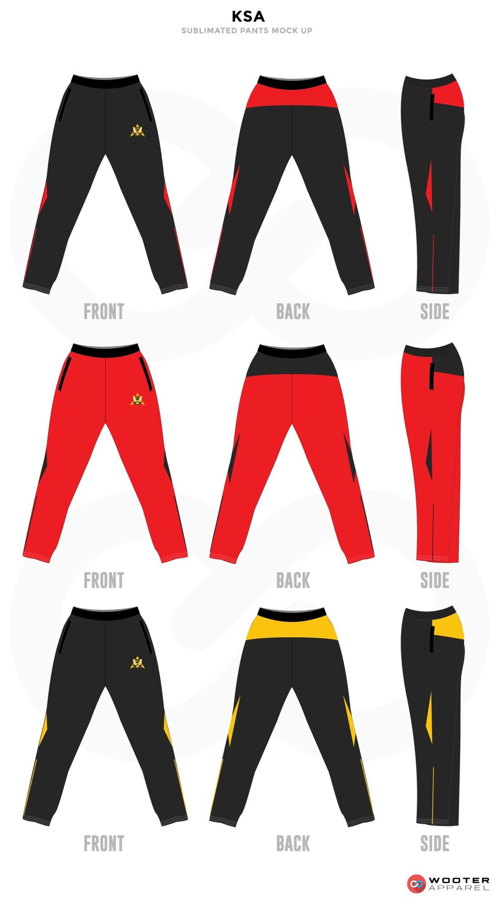 KSA Black Grey Red and Yellow Baseball Uniforms, Pants