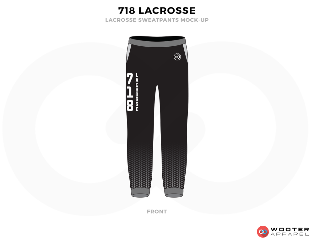 718 LACROSSE Black Grey and White Baseball Uniforms, Pants