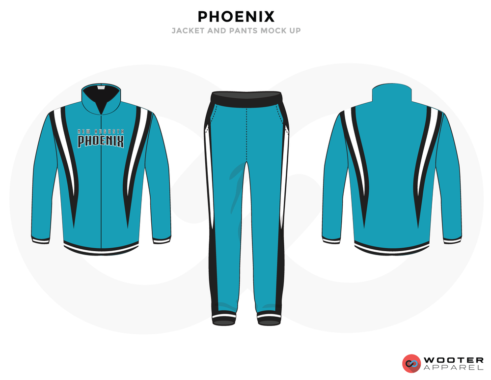 PHOENIX Sky Blue White and Black Baseball Uniforms, Jacket Jersey and Pants