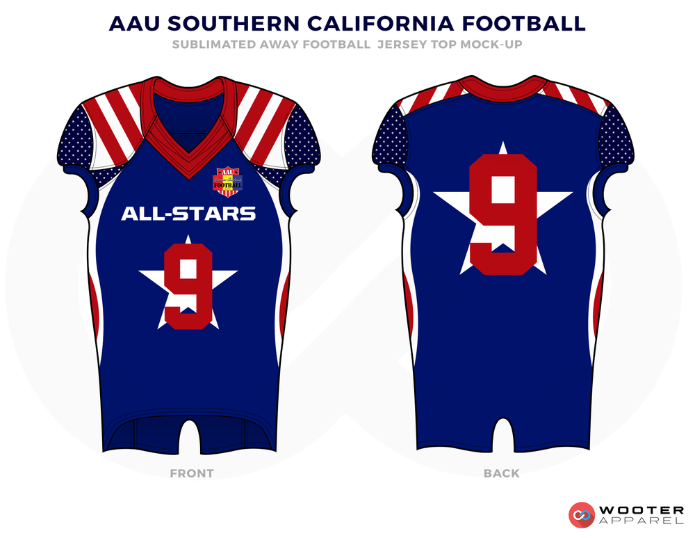 AAU SOUTHERN CALIFORNIA FOOTBALL Blue Red and White Football Uniforms, Jersey and Pants