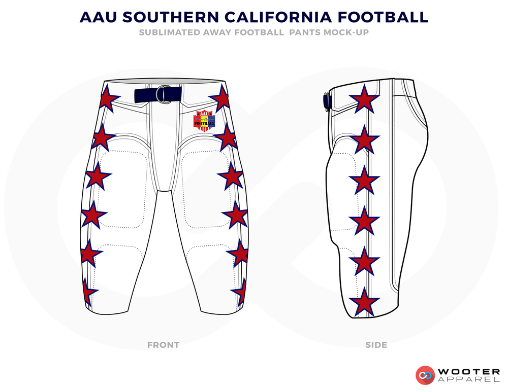 AAU SOUTHERN CALIFORNIA FOOTBALL White Red and Blue Football Uniforms, Pants