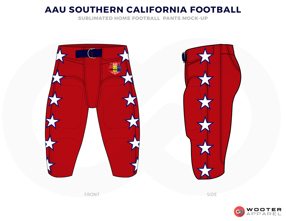 AAU SOUTHERN CALIFORNIA FOOTBALL Red White and Blue Football Uniforms, Jersey and Pants