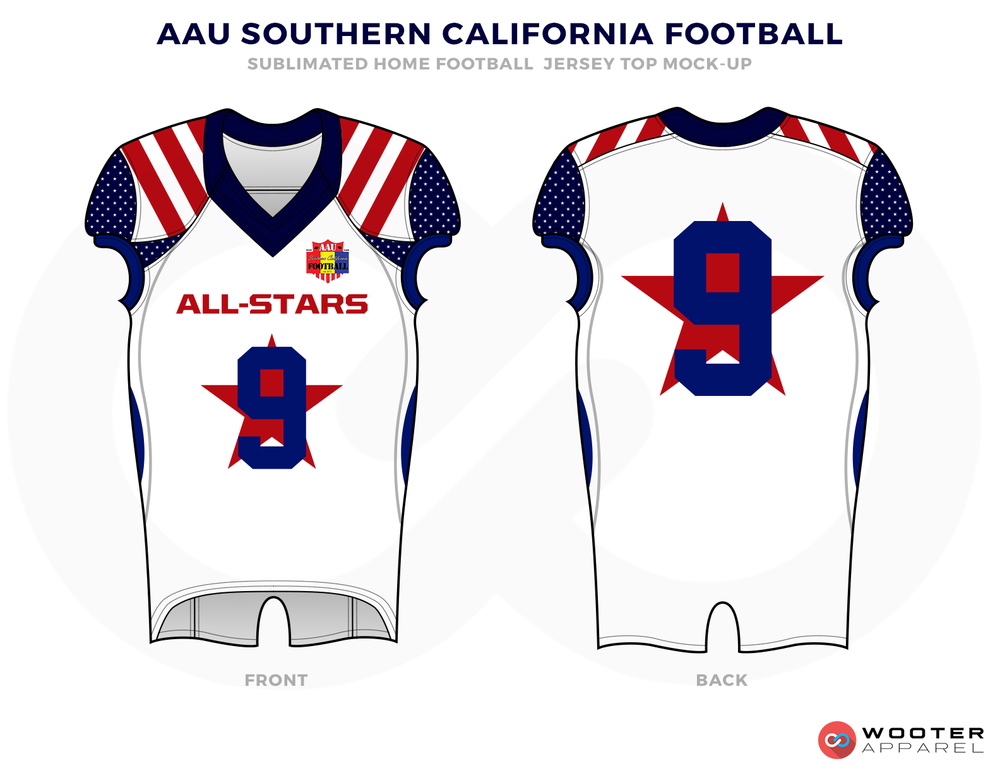 AAU SOUTHERN CALIFORNIA FOOTBALL White Blue and Red Football Uniforms, Jersey and Pants