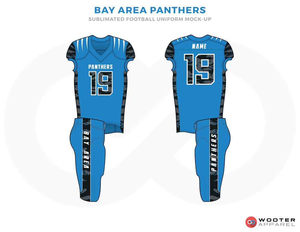 BAY AREA PANTHERS Blue Black and White Football Uniforms, Jersey and Pants