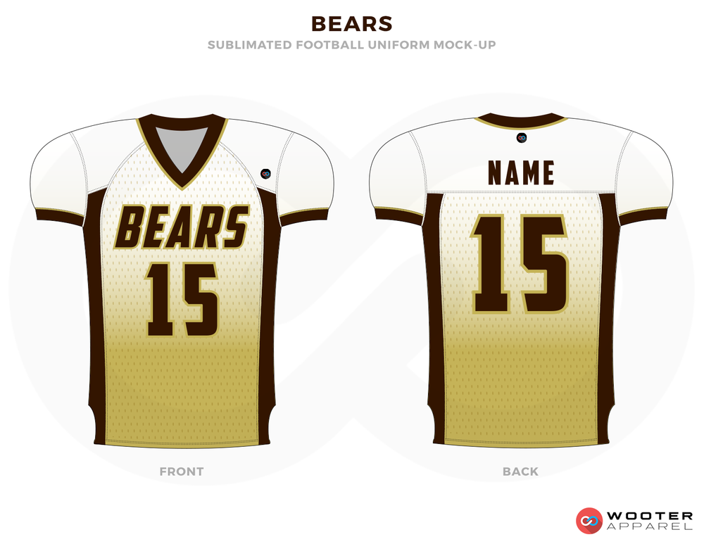 BEARS White and Brown Football Uniforms, Jersey