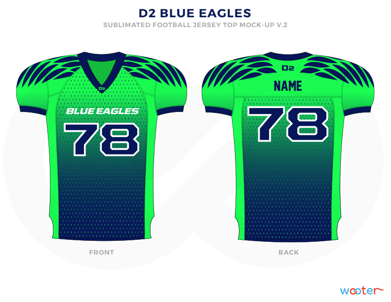 D2 BLUE EAGLES Blue Green and White Football Uniforms, Jerseys