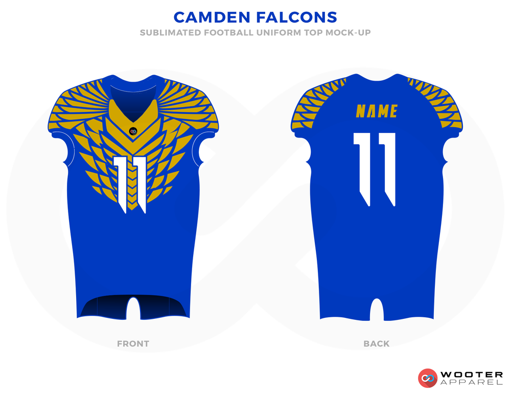 camden falcons Blue Yellow and White Football Uniforms, Jersey and Pants