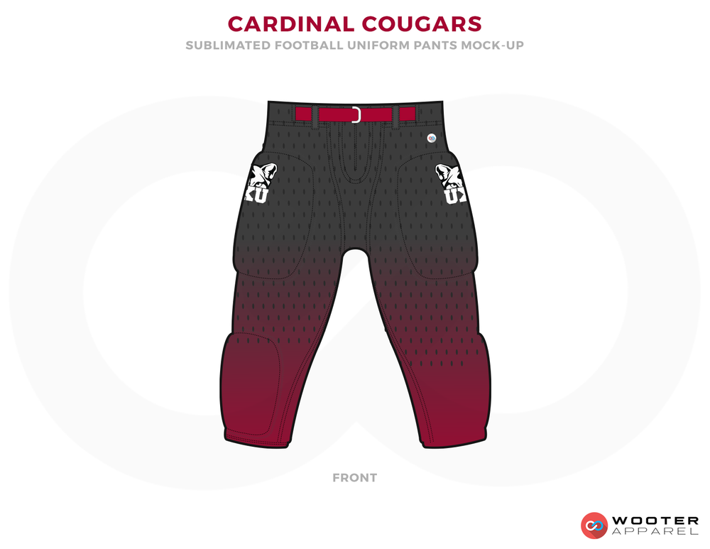 CARDINAL COUGARS Grey Pink and White Football Uniforms, Pants