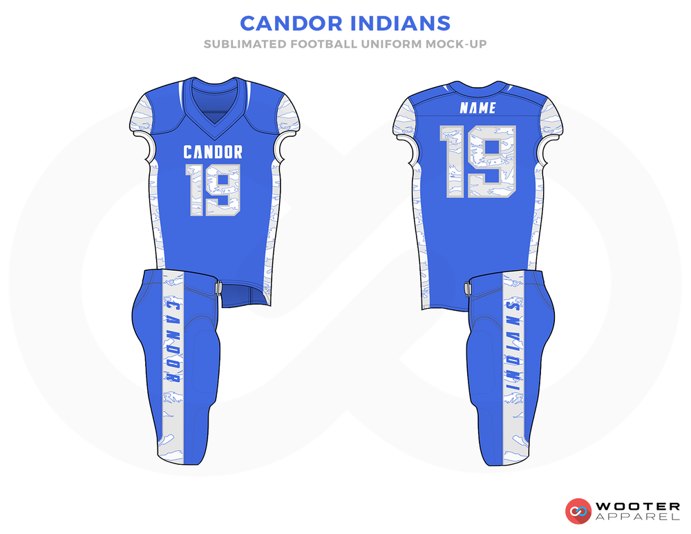 CAMDOR INDIANS Blue and White Football Uniforms, Jersey and Pants