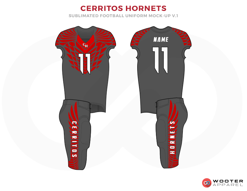 CERRITOS HORNETS Grey Red and White Football Uniforms, Jersey and Pants