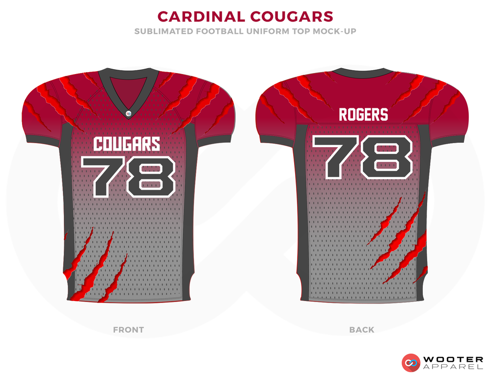 CARDINAL COUGARS Red Grey and White Football Uniforms, Jersey