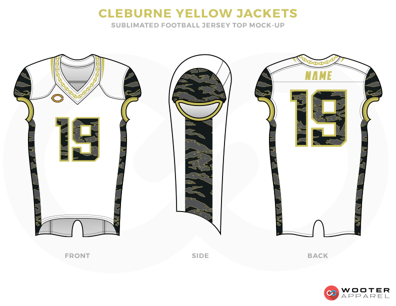 CLEBURNE YELLOW JACKETS White Black Grey and Yellow Football Uniforms, Jersey and Pants