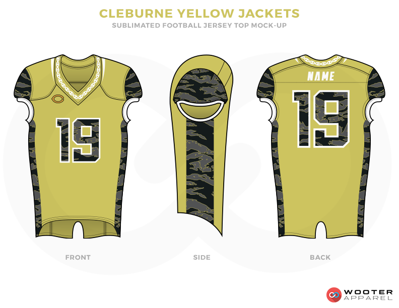 CLEBURNE YELLOW JACKETS Green Black Grey and White Football Uniforms, Jersey and Pants