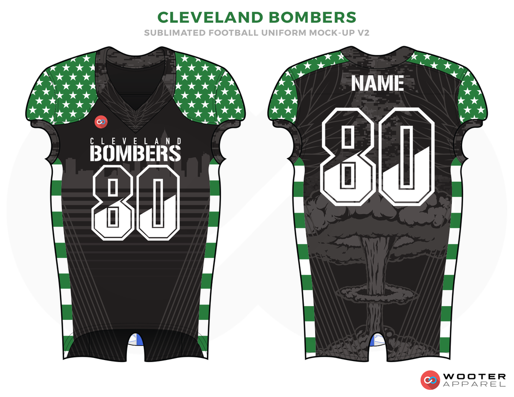CLEVELAND BOMBERS Grey Green and White Football Uniforms, Jerseys