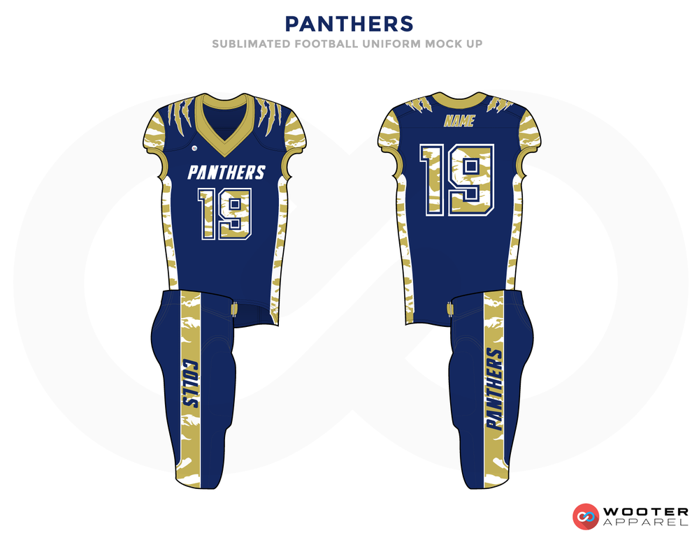 PANTHERS Blue Yellow and White Football Uniforms, Jersey and Pants