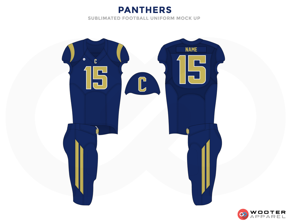 PANTHERS Blue and Yellow Football Uniforms, Jersey and Pants