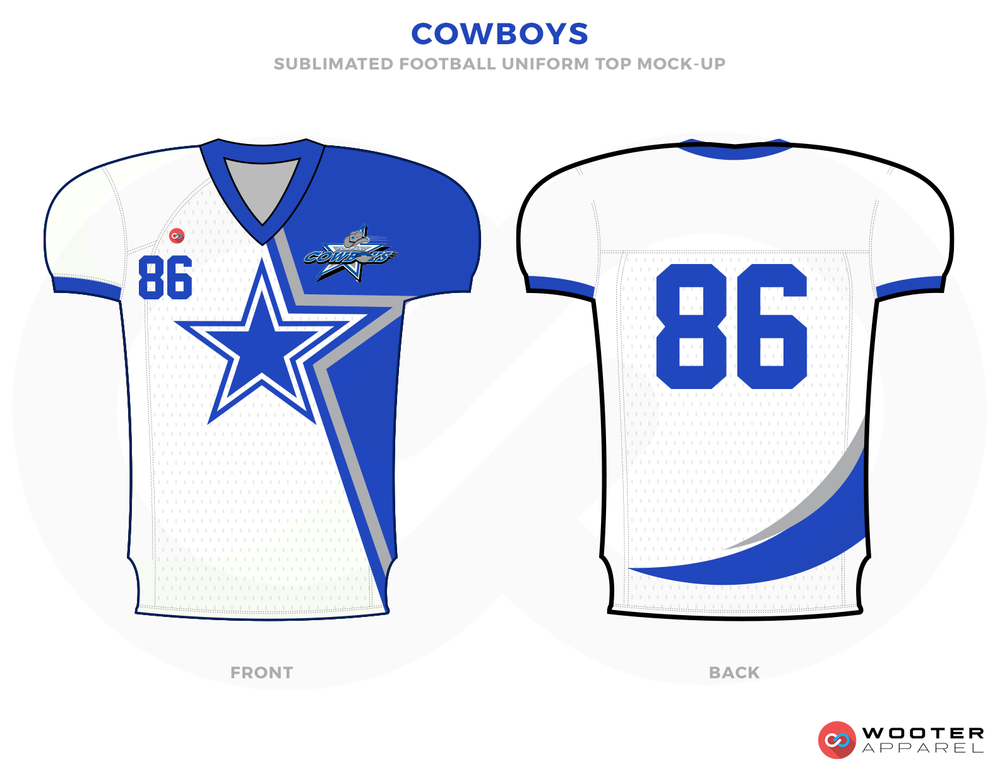 COWBOYS White Blue Grey and Red Football Uniforms, Jerseys