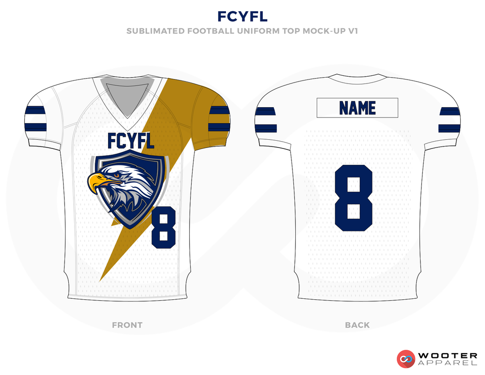 FCYFL White Corn Yellow and Blue Football Uniforms, Jerseys