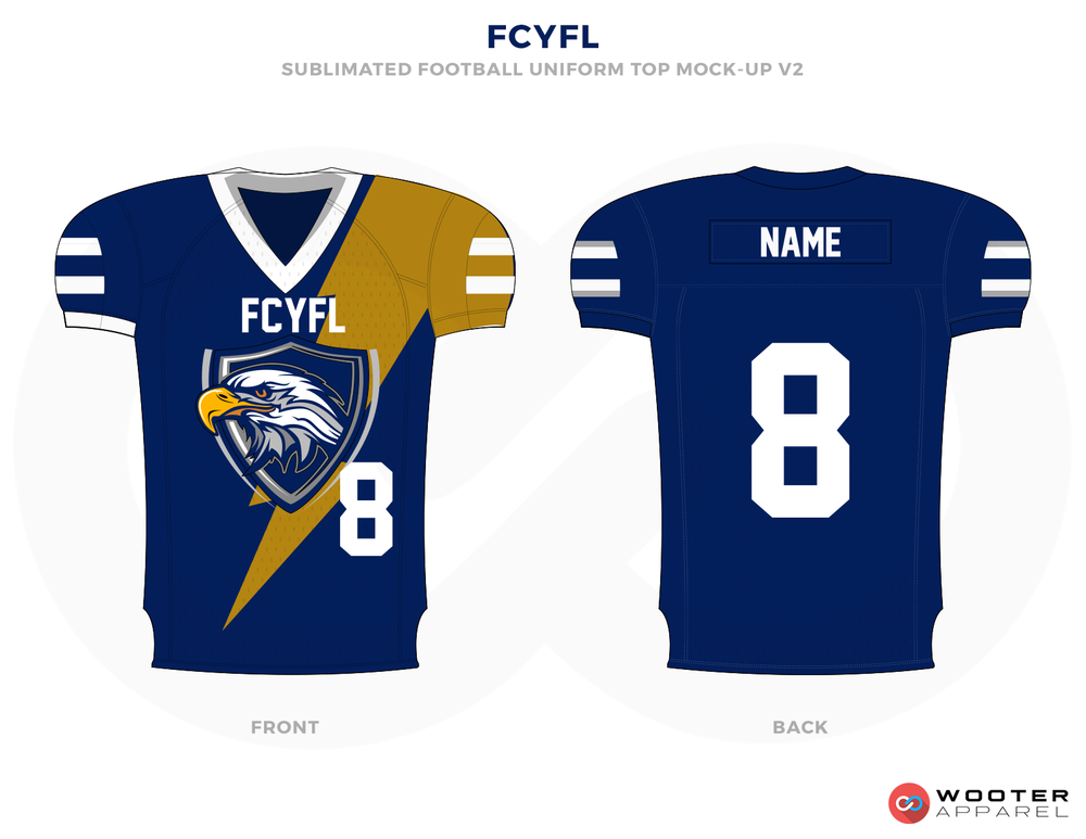 FCYFL Blue Corn and White Football Uniforms, Jerseys