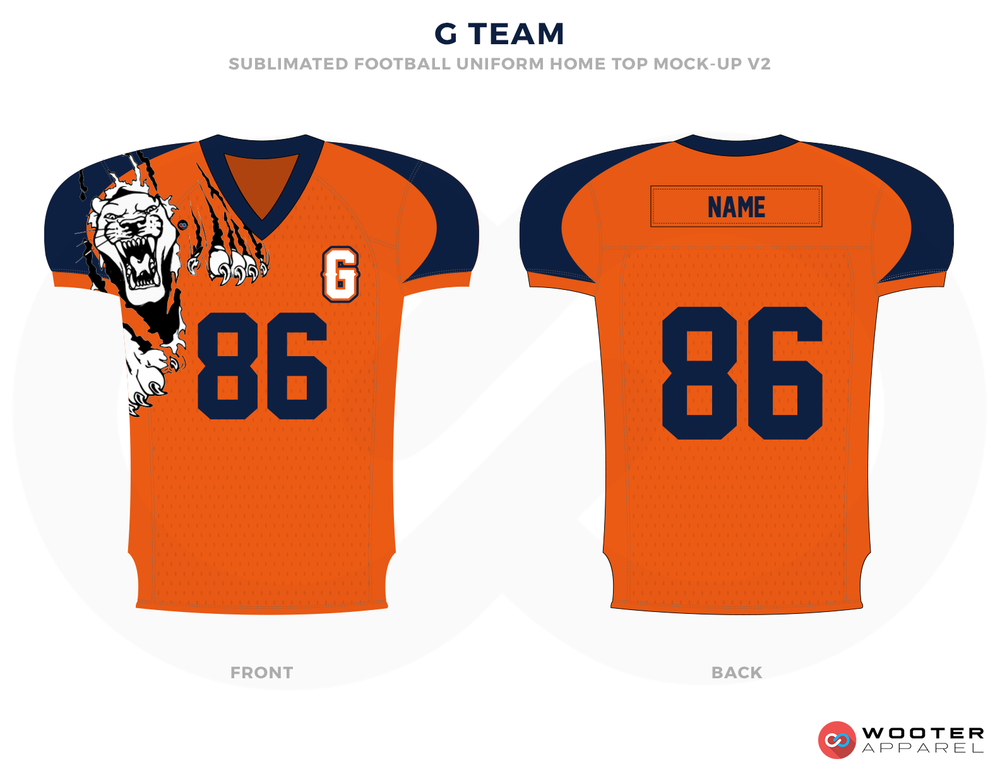 G TEAM Orange Blue  and White Football Uniforms, Jerseys