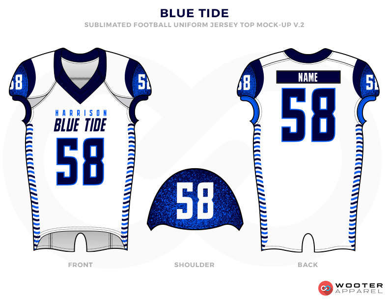 BLUE TIDE White Dark Blue and Light Blue Football Uniforms, Jerseys and Shoulder