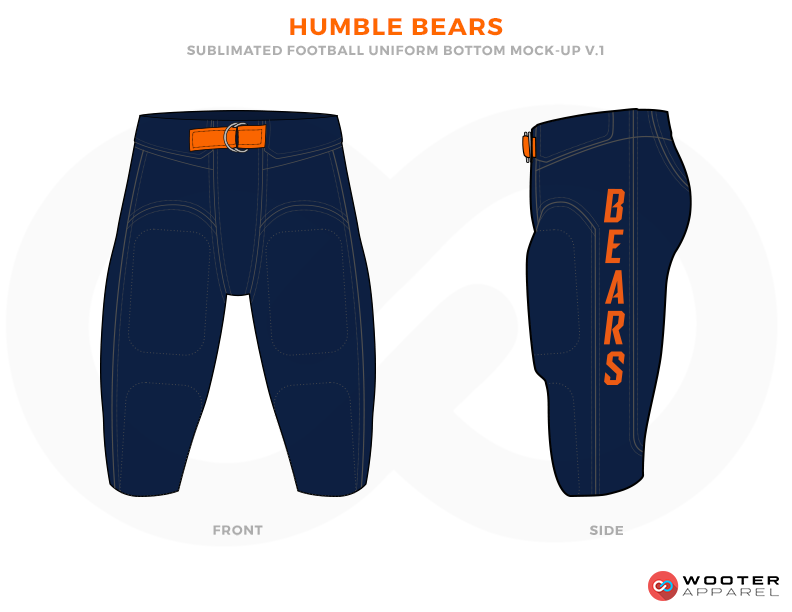 HUMBLE BEARS Dark Blue and Orange Football Uniforms, Paints.