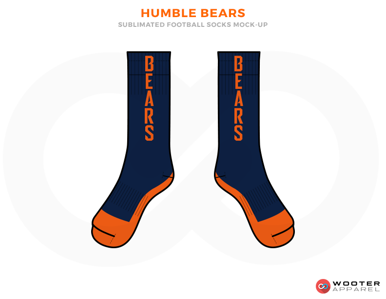 HUMBLE BEARS Dark Blue and Orange Football Uniforms, Socks.