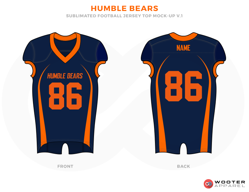 HUMBLE BEARS Dark Blue and Orange Football Uniforms, Jerseys.