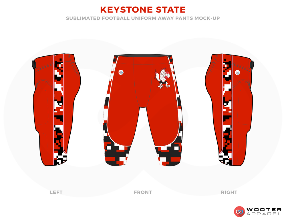 KEYSTONE STATE Red Black and White Football Uniforms, Jerseys.