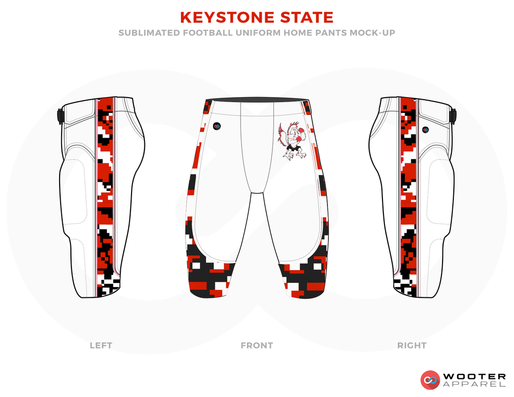 KEYSTONE STATE White Black and Red Football Uniforms, Paints.
