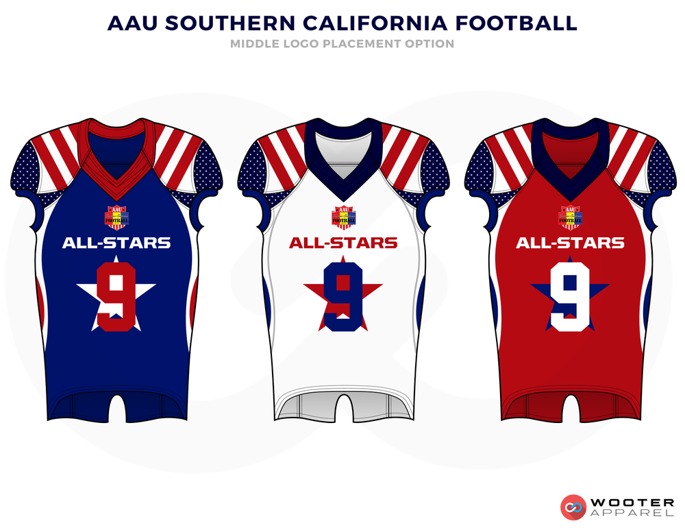AAU SOUTHERN CALIFORNIA FOOTBALL Blue White Yellow and Red Baseball Uniforms, Jerseys