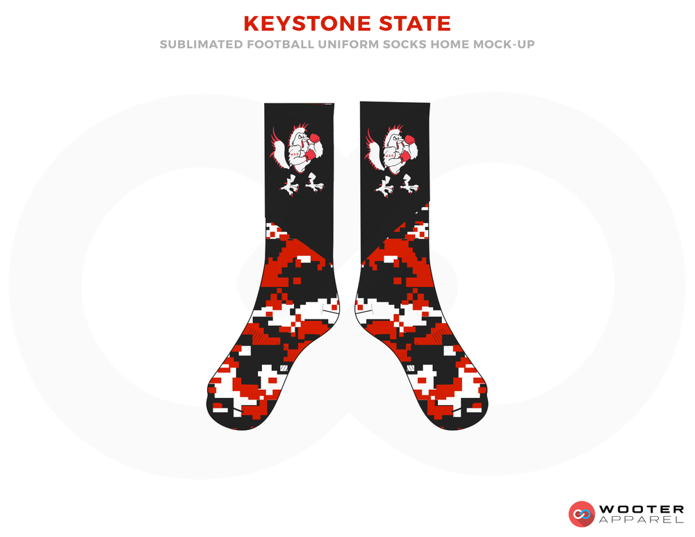 KEYSTONE STATE Black Red and White Football Uniforms, Socks.