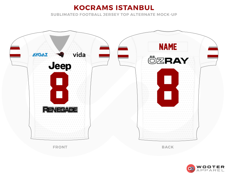 KOCRAMS ISTANBUL White Red Blue and Black Football Uniforms, Jerseys.