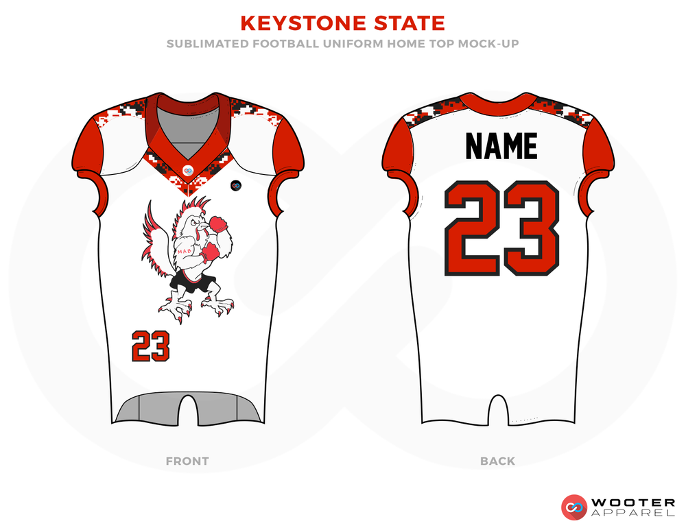 KEYSTONE STATE White Orange and Black Football Uniforms, Jerseys.