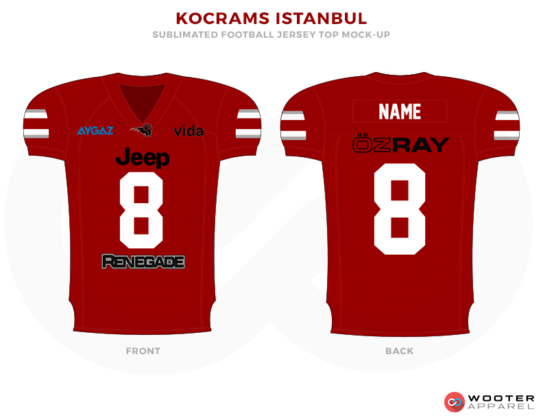 KOCRAMS ISTANBUL Red Blue White and Black Football Uniforms, Jerseys.
