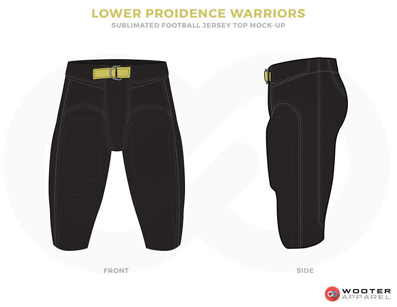 LOWER PROIDENCE WARRIORS Black and Mustard Football Uniforms, Paints.