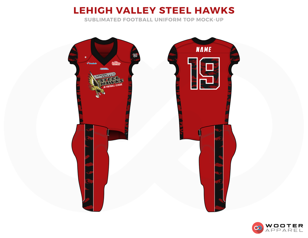 LEHIGH VALLEY STEEL HAWKS Red Black and White Football Uniforms, Jerseys.