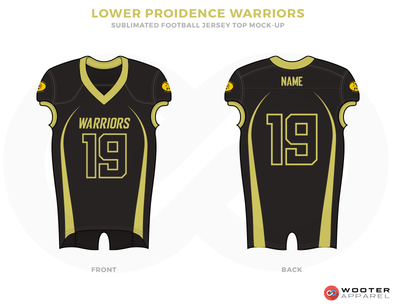 LOWER PROIDENCE WARRIORS Black Light Green Yellow Football Uniforms, Jerseys.