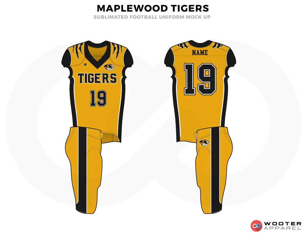 MAPLEWOOD TIGERS Golden and Black Football Uniforms, Jerseys and Paints.