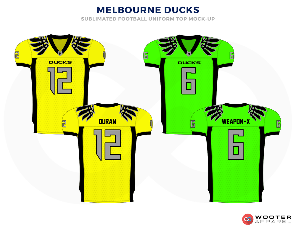 MELBOURNE DUCKS Yellow Grey Green and Black Football Uniforms, Jerseys.