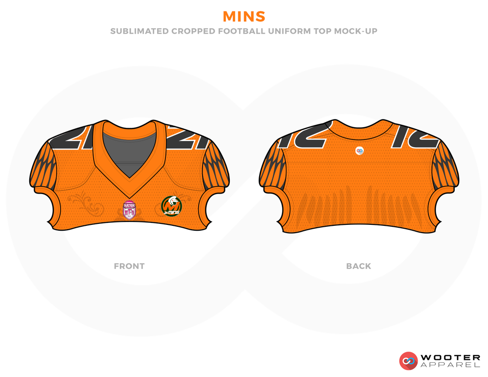 MINS Orange Blue Grey White and Black Football Uniforms, Shoulders