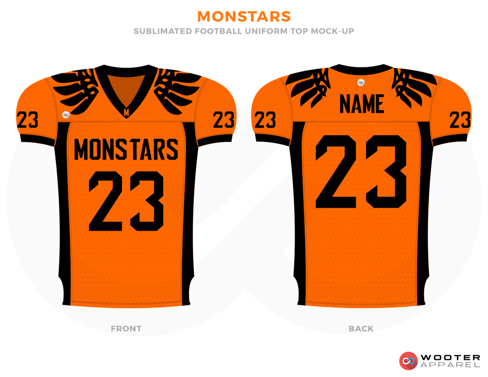MONSTARS Orange and Black Football Uniforms, Jerseys.