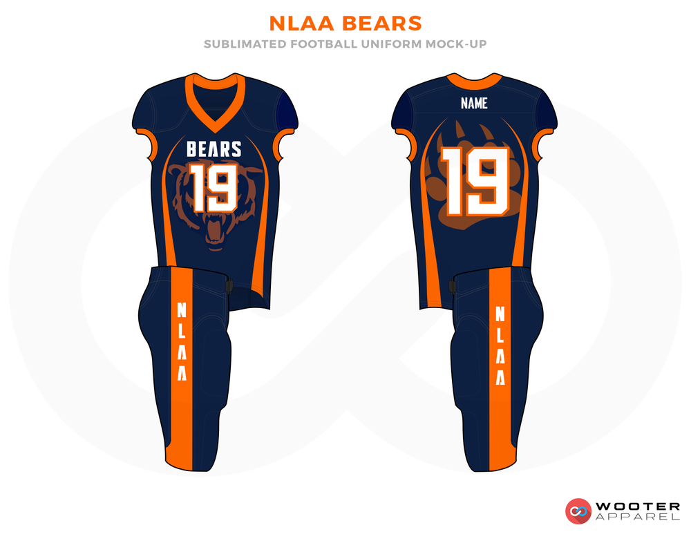 NLAA BEARS Blue Orange and White Football Uniforms, Jerseys and Pants