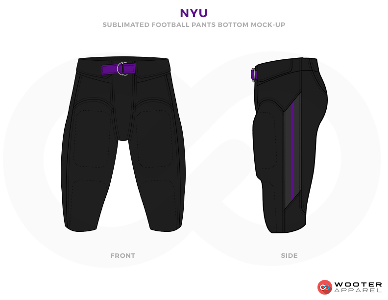 NYU Black and Purple Football Uniforms, Pants