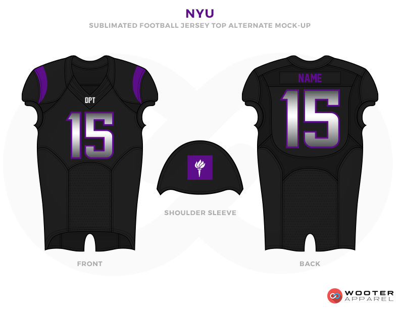 NYU Black Purple and White Football Uniforms, Jerseys and Shoulders