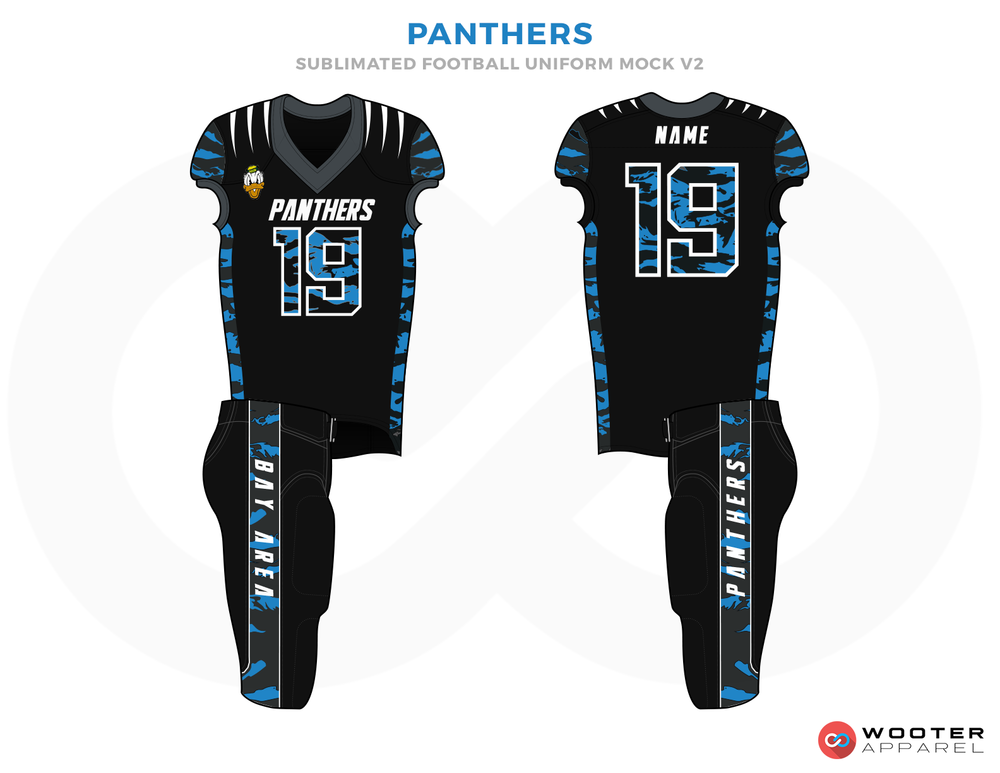 PANTHERS Black Ferozi and White Football Uniforms, Jerseys and Pants